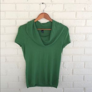ALFANI Green Stretch Knit Short Sleeve Sweater S